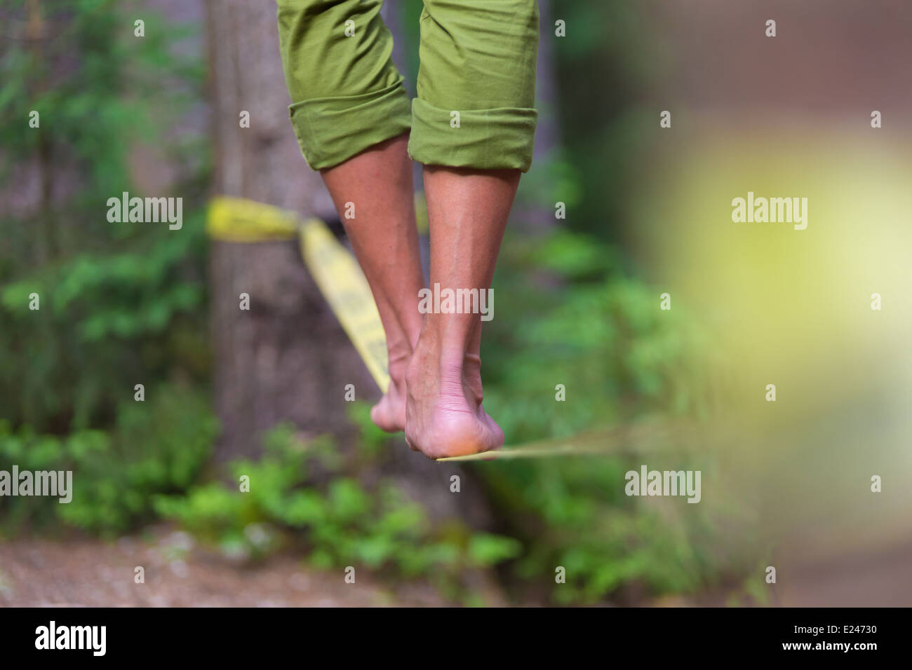 Slack line in the nature. - Stock Image