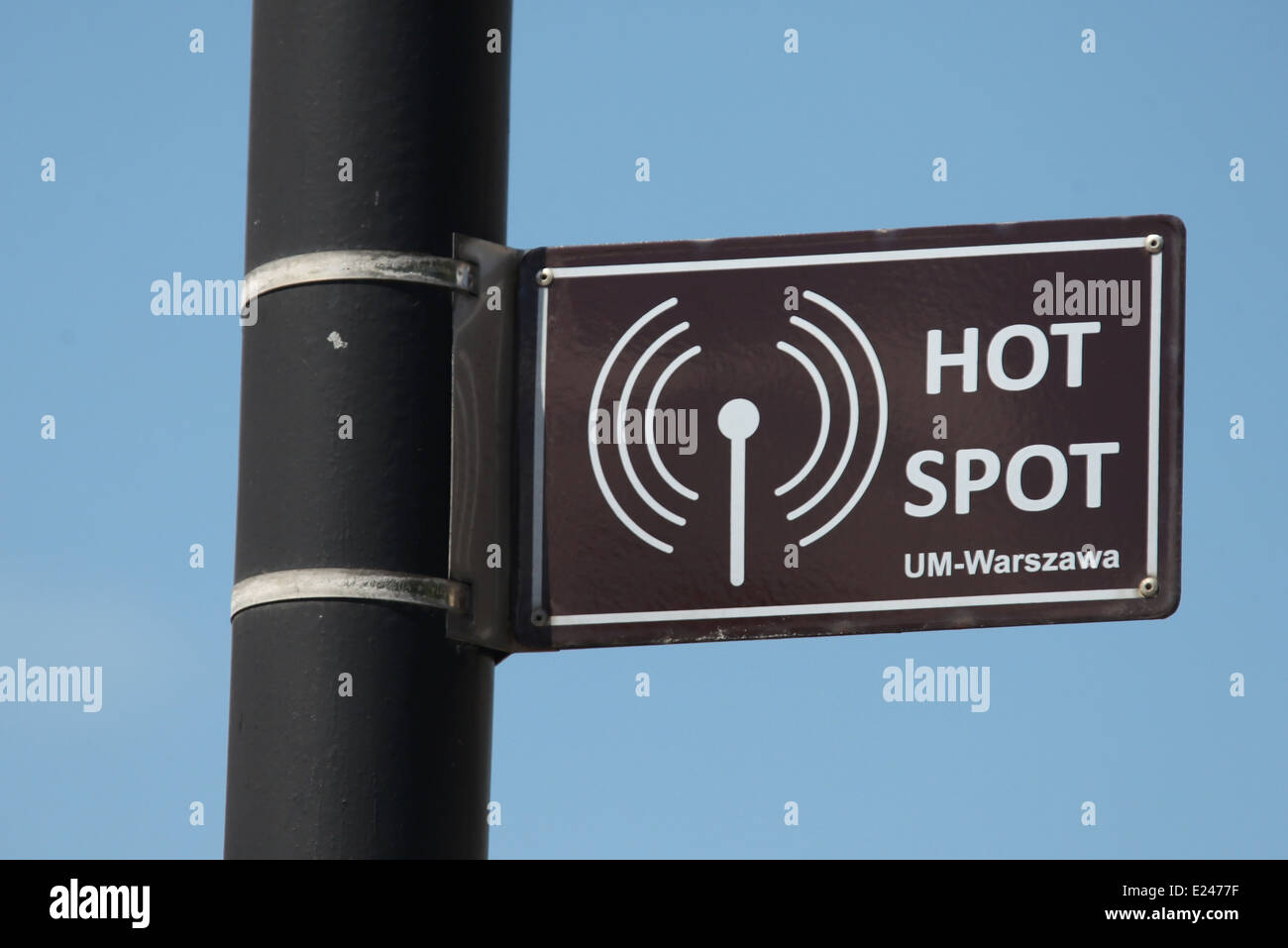 Internet Hot Spot Sign in Warsaw - Stock Image