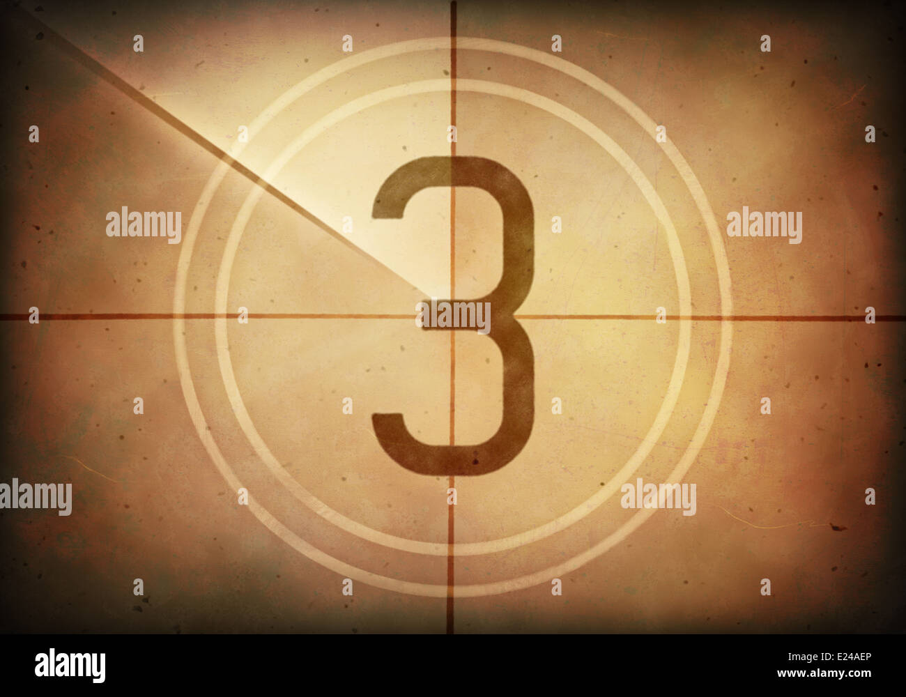 Countdown on the old movie screen. High resolution image with detailed quality. - Stock Image