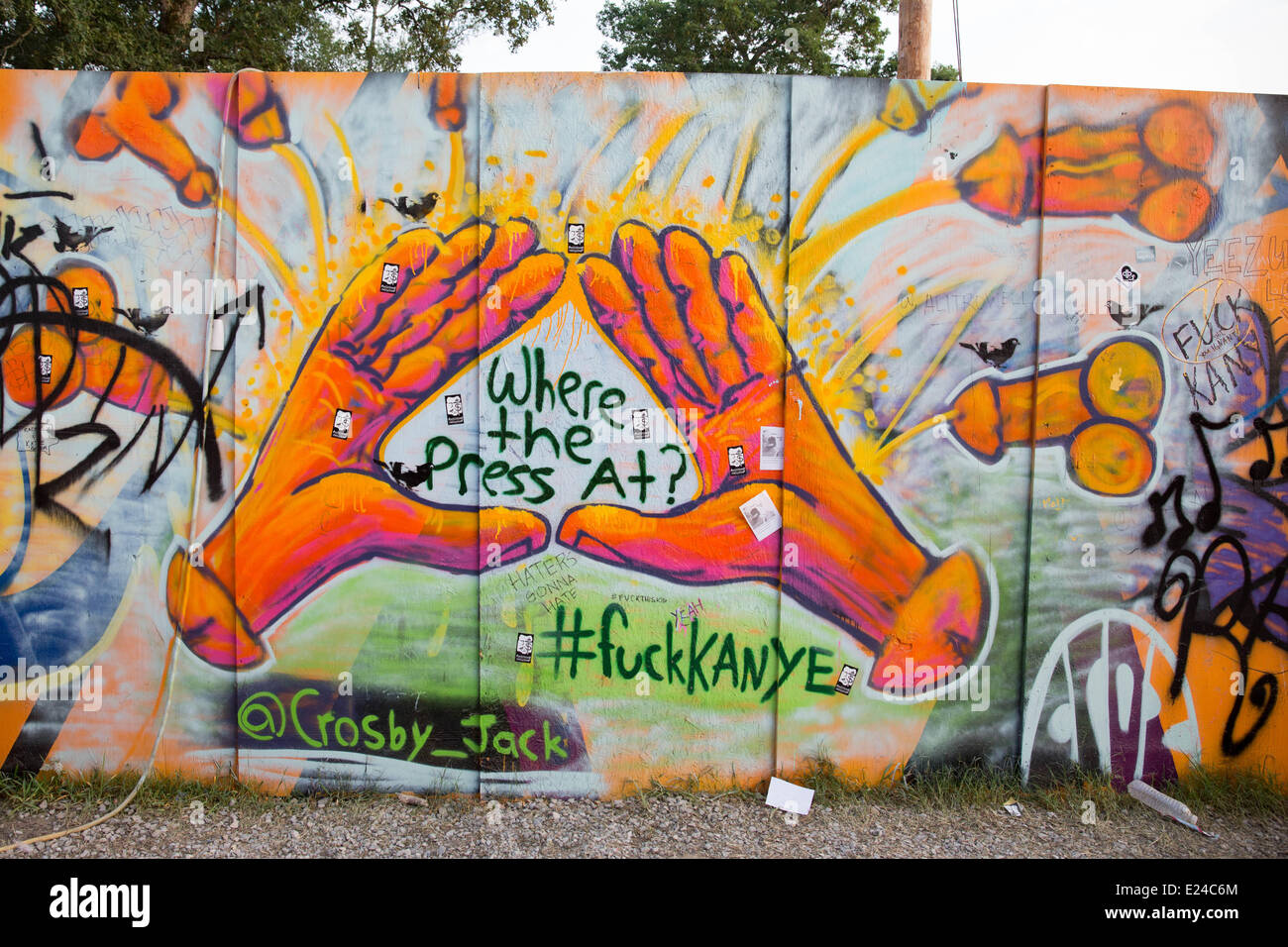 Manchester, Tennessee, USA. 15th June, 2014. Graffiti art mural showing the artist's distaste for Kanye West - Stock Image