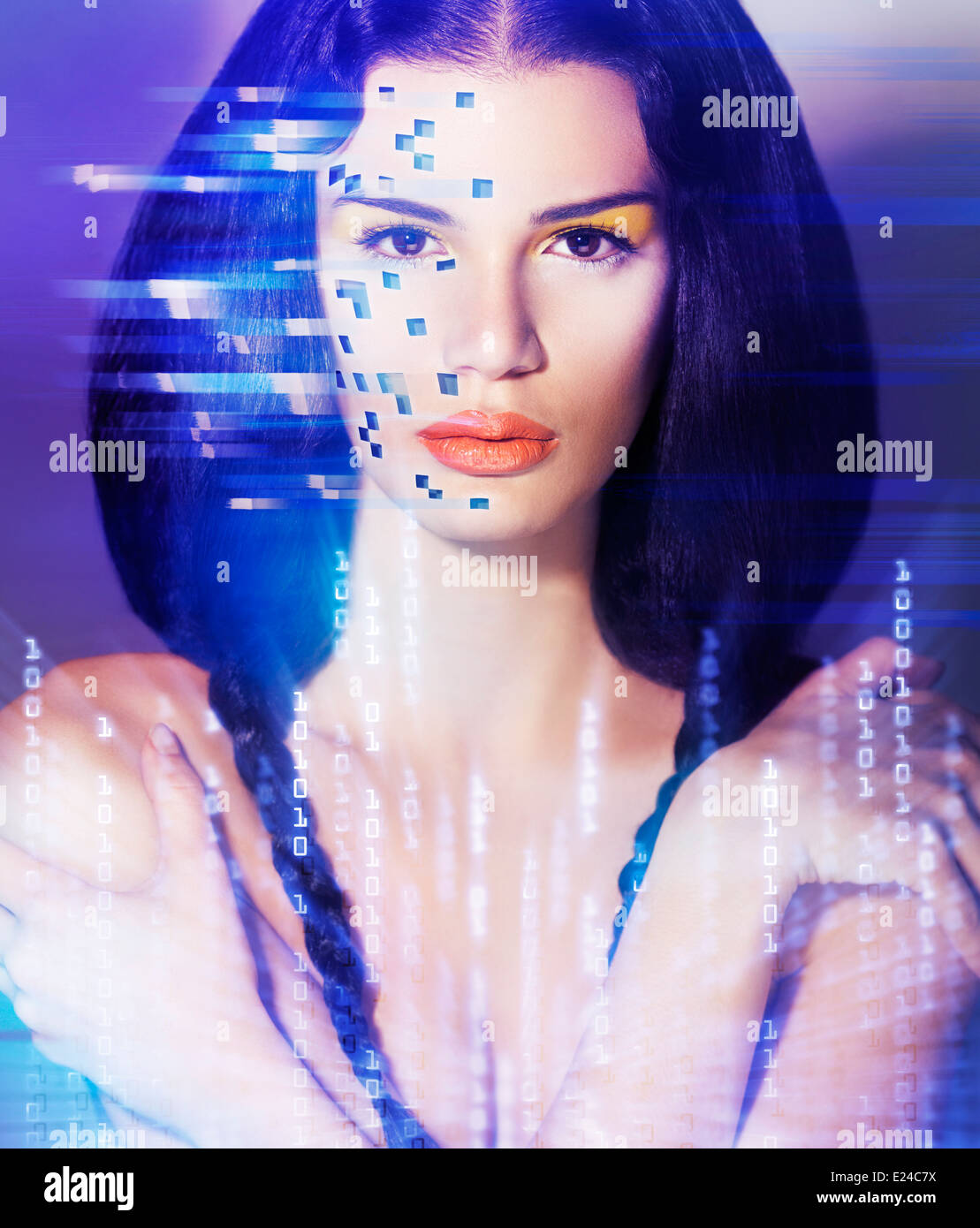 Portrait of a young beautiful woman face in digital virtual reality world. Artistic concept. - Stock Image