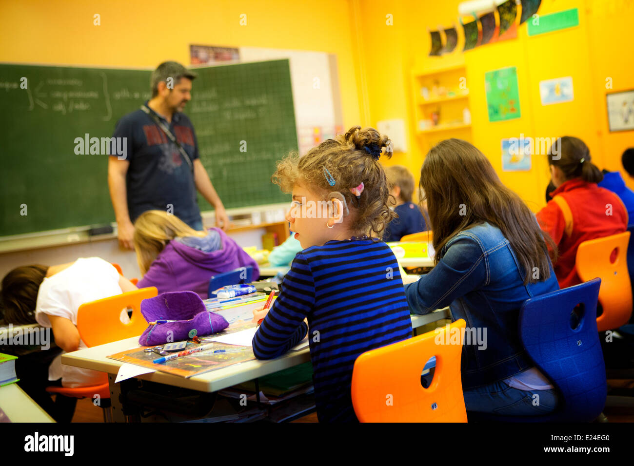 Hearing-impaired child - Stock Image