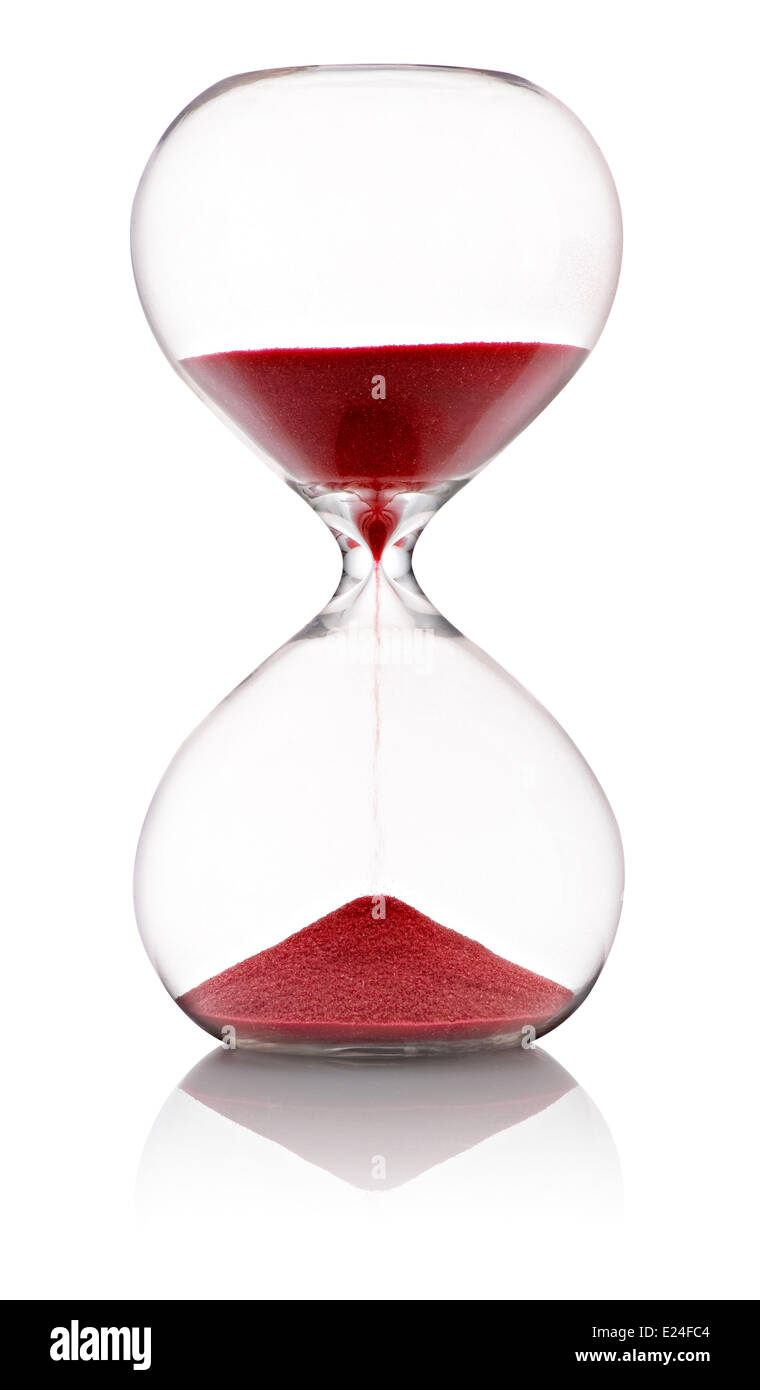 Hourglass with red sand running through - Stock Image