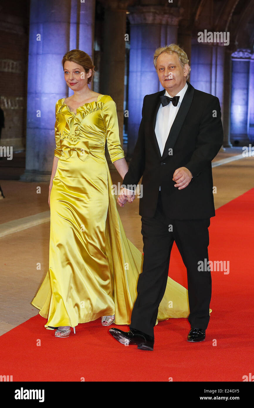 Eberhard van der Laan and wife at a Gala dinner ahead of abdication of Queen Beatrix of The Netherlands. Amsterdam, - Stock Image