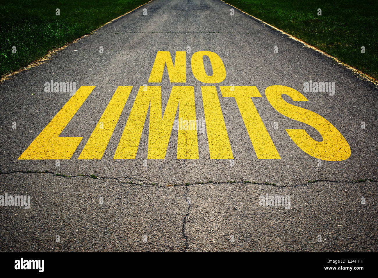 No Limits message on asphalt road. Concept of safe driving and preventing traffic accident. - Stock Image