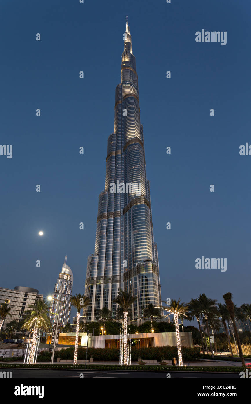 Burj Khalifa in the Blue Hour - Stock Image