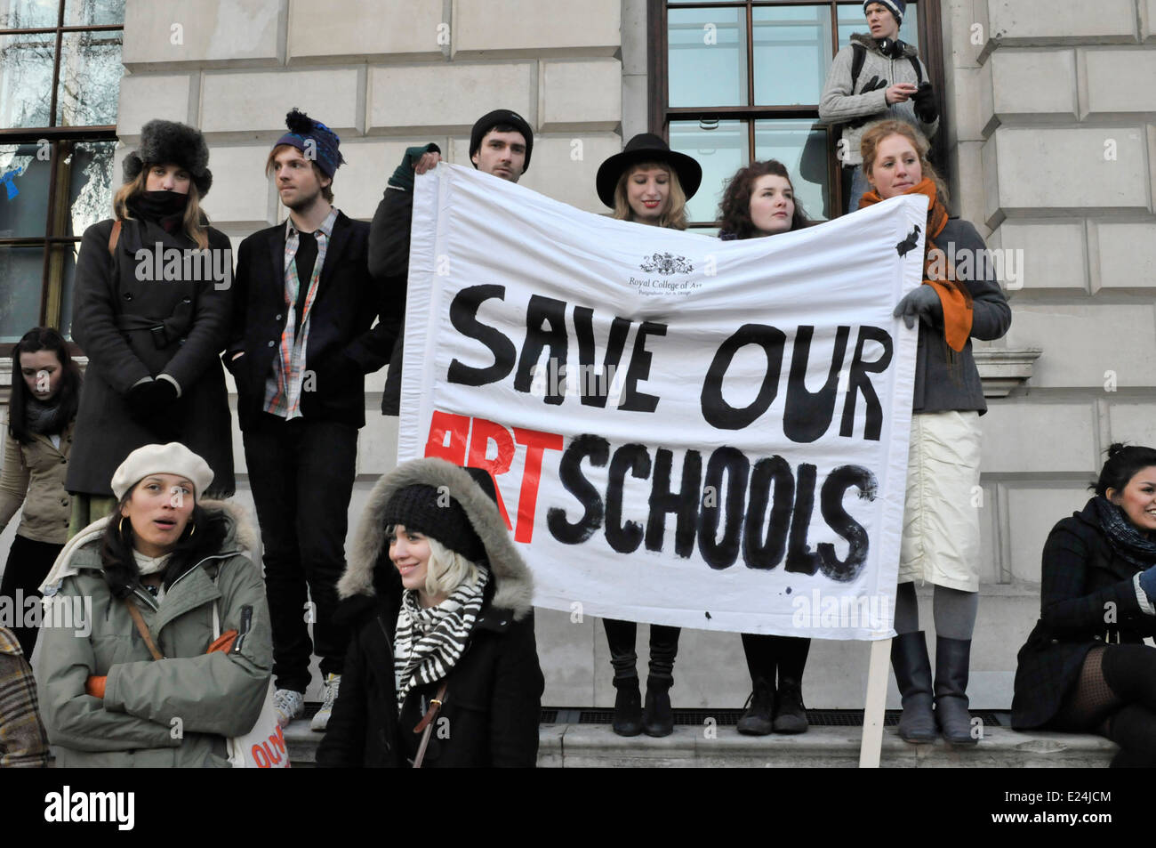 Student protesters holding a banner reading 'save our art schools', central London, UK - Stock Image