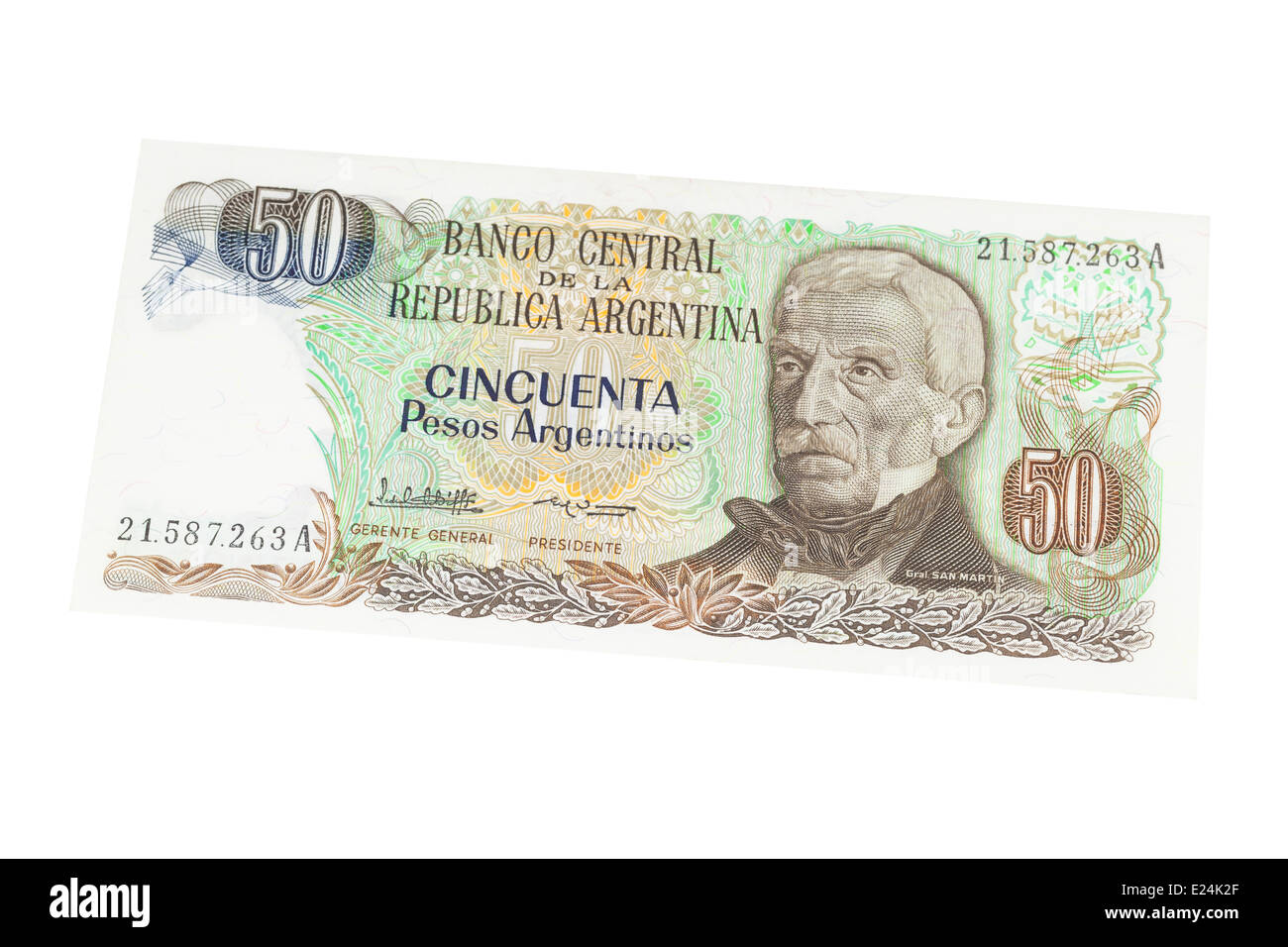 Argentinian fifty peso banknote on a white background - Stock Image