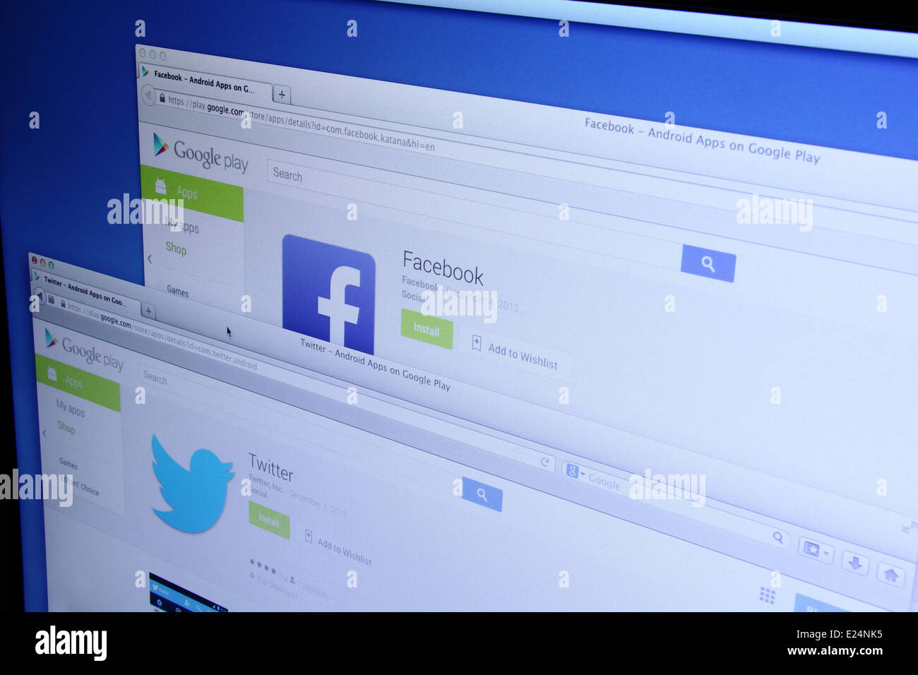 Photo of Facebook and Twitter Apps on Google Play. As of today, Facebook and Twitter are largest social media network - Stock Image