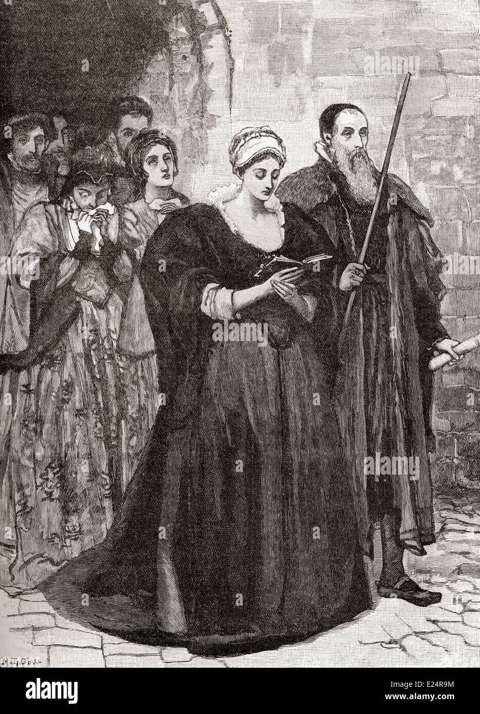 Lady Jane Grey on her way to the scaffold after being convicted of high treason. - Stock Image