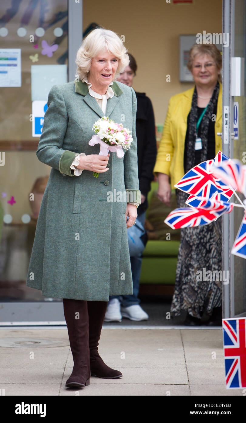 Camilla,Duchess of Cornwall tours the Wiltshire Scrapstore, meeting volunteers and opening the centre's new - Stock Image