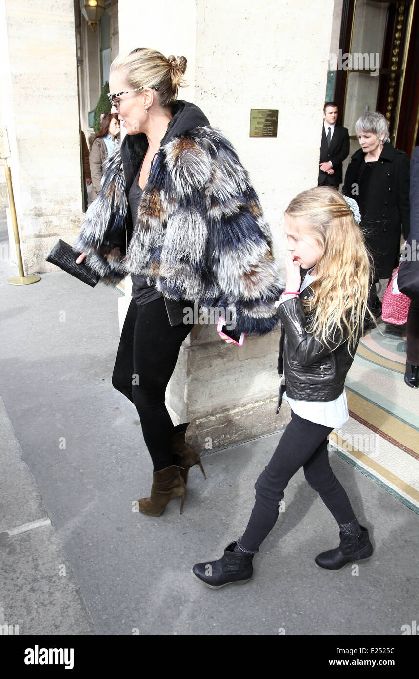Kate Moss and Jamie Hince and daughter Lila Grace leave their hotel  Featuring: Kate Moss,Lila Grace Where: Paris, - Stock Image