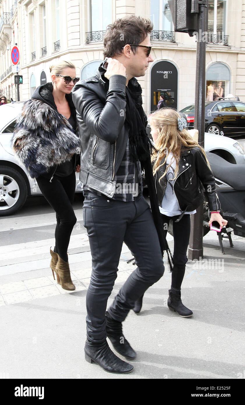 Kate Moss and Jamie Hince and daughter Lila Grace leave their hotel  Featuring: Kate Moss,Jamie Hince,Lila Grace - Stock Image