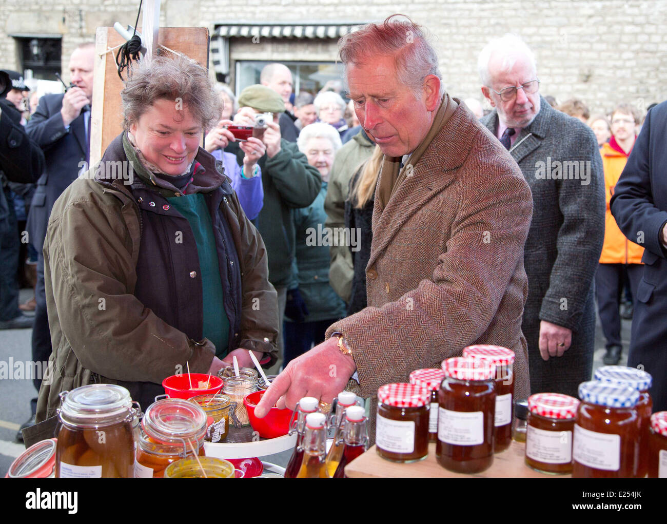 Prince Charles, Prince of Wales visits the Cumbrian market town of Kirkby Lonsdale. The Prince visited the market,( - Stock Image