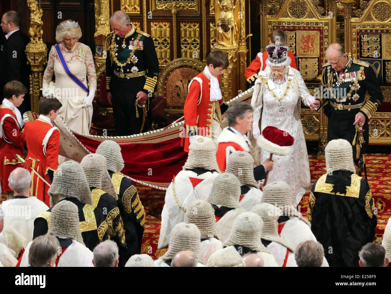 Queen Elizabeth II attends the annual State Opening of Parliament Ceremony at the Palace of Westminster. The Queen - Stock Image