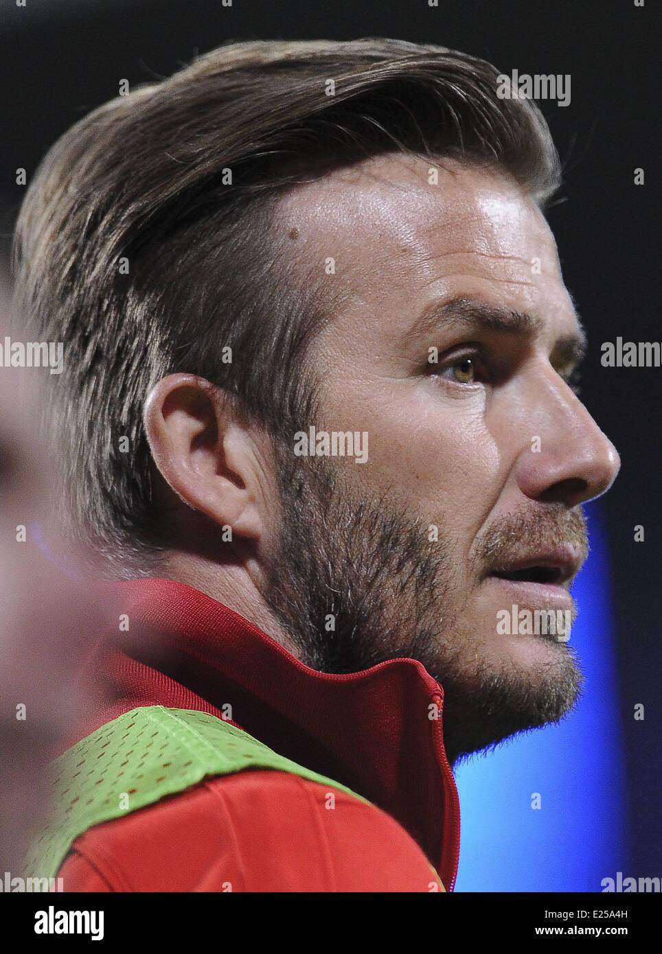 Paris Saint-Germain (PSG) vs. Olympique Lyonnais at Stade de Gerland  Featuring: David Beckham Where: Lyon, France Stock Photo