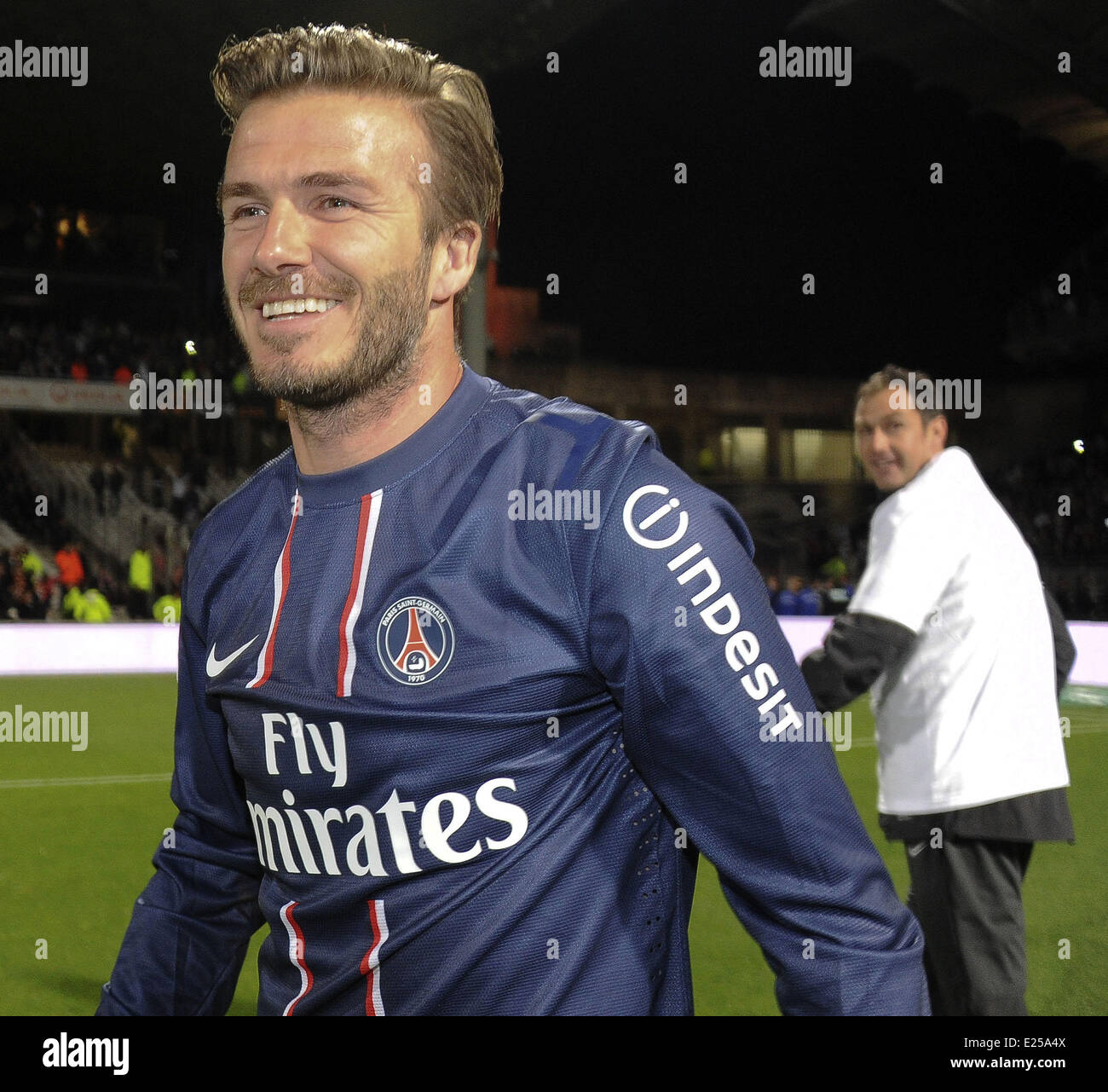 Paris Saint-Germain (PSG) vs. Olympique Lyonnais at Stade de Gerland  Featuring: David Beckham Where: Lyon, France Stock Photo