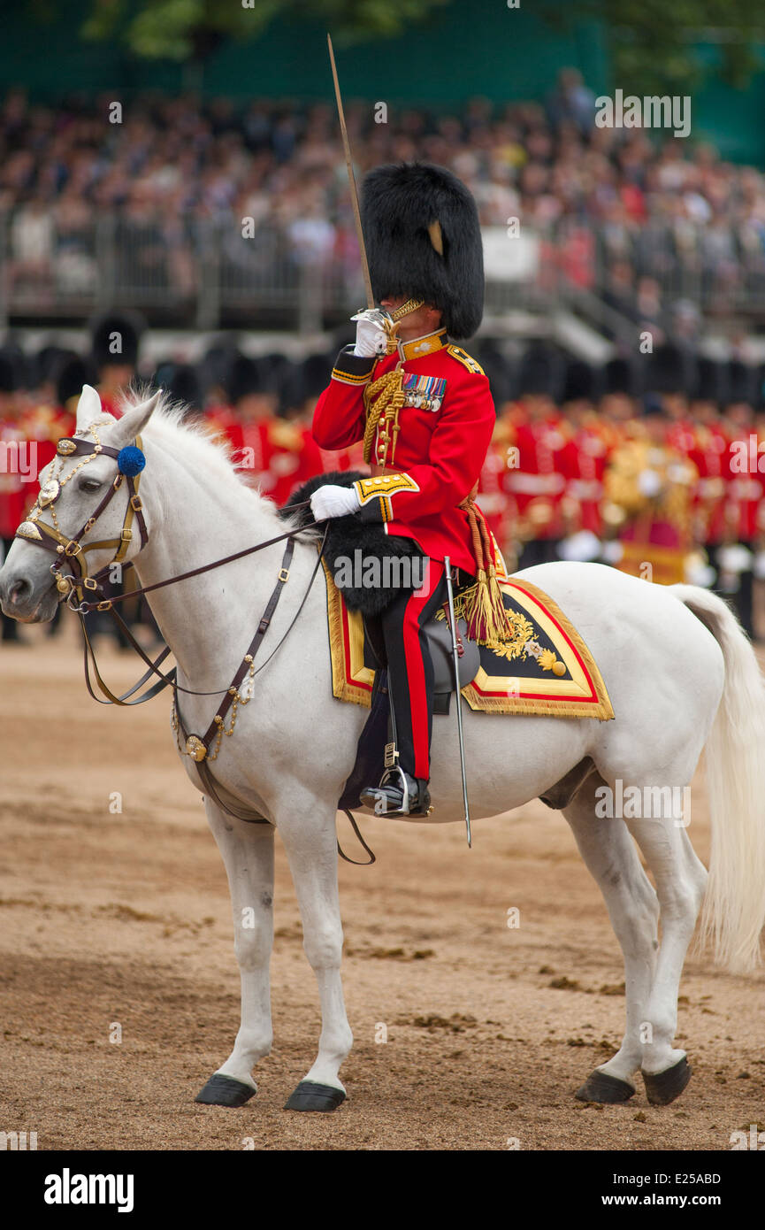 Field Officer in Brigade Waiting Lieutenant Colonel Chips Broughton, The Queen's Birthday Parade, Trooping the Colour - Stock Image