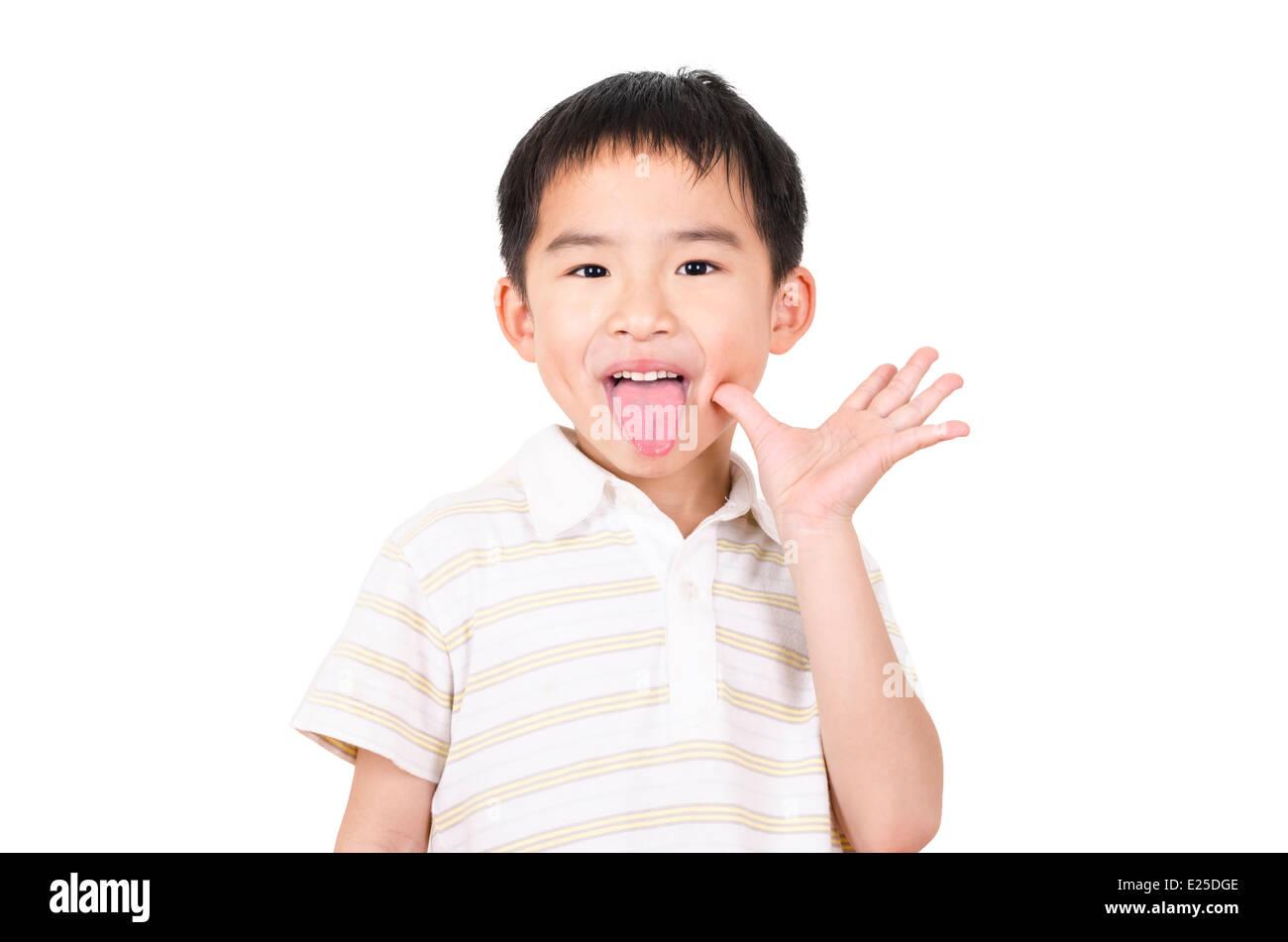 Cute boy grimace - Stock Image