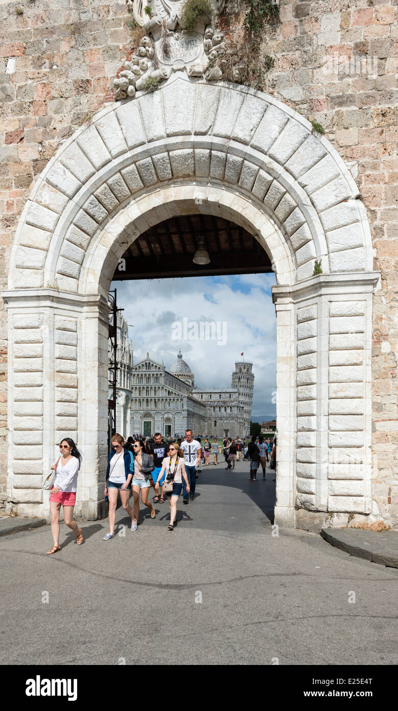 The west gate into Piazza dei Miracoli (Square of Miracles) in Pisa - Stock Image