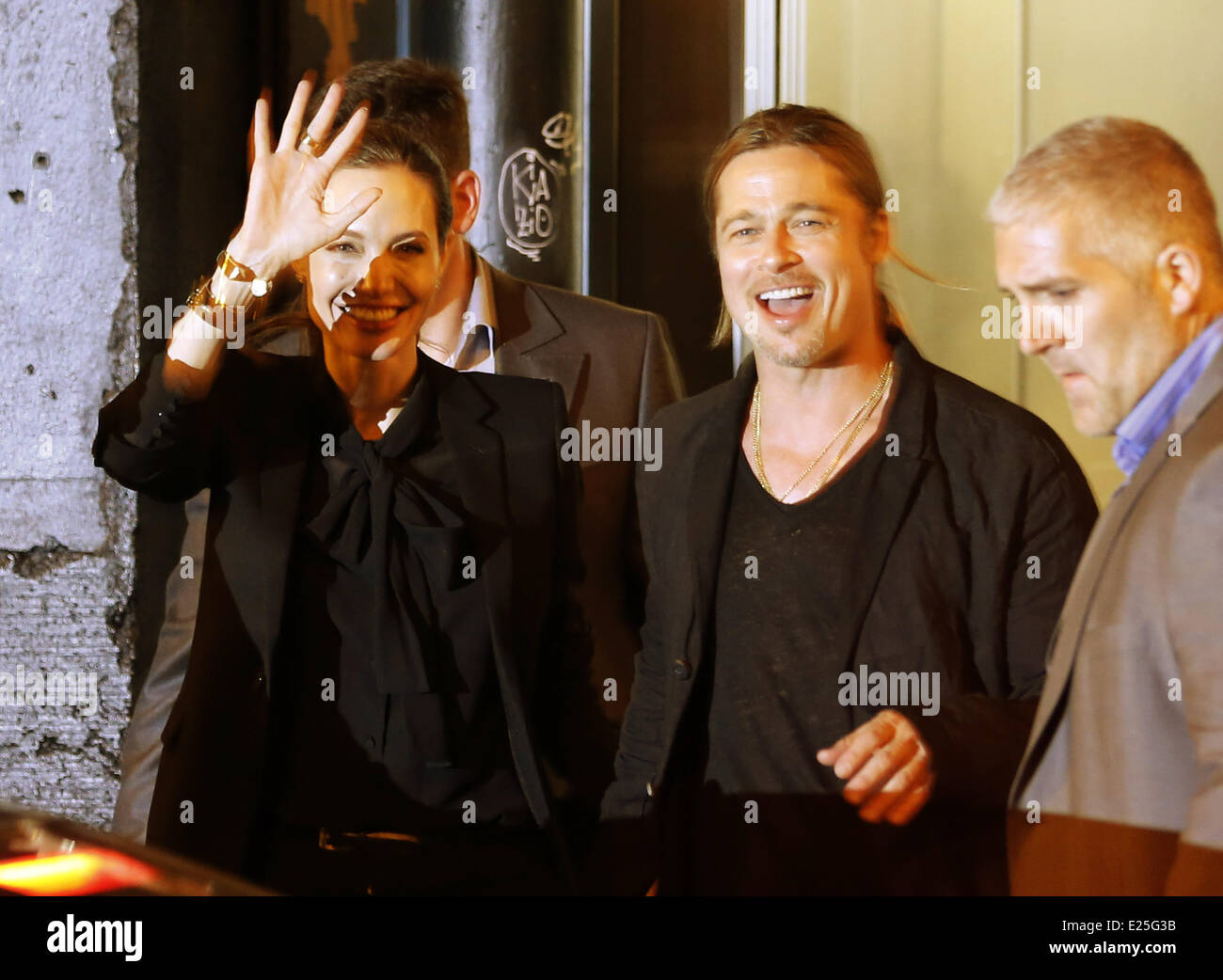 Angelina Jolie and Brad Pitt leaving their hotel  Featuring: Angelina Jolie,Brad Pitt Where: Paris, France When: - Stock Image