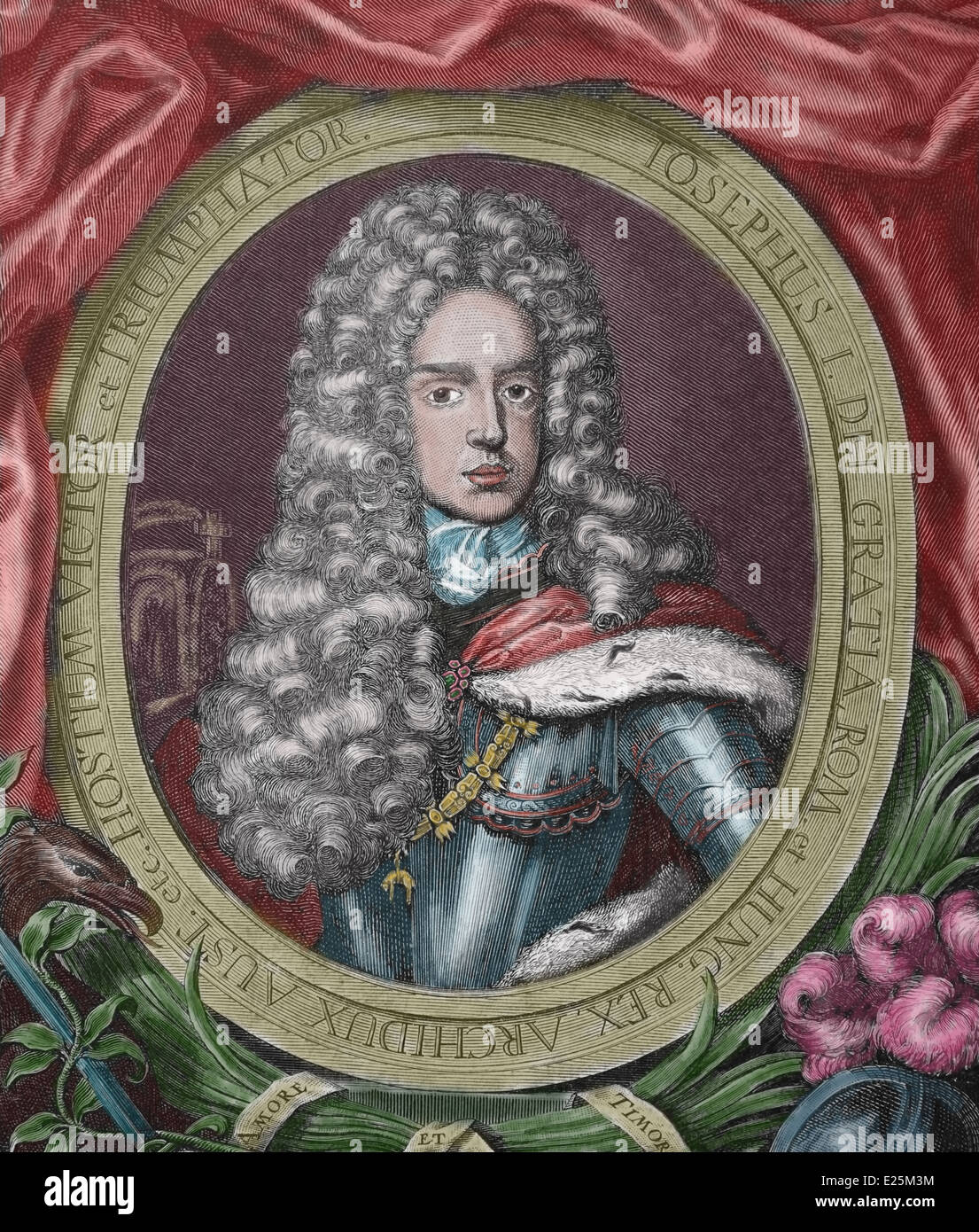 Joseph I (1678-1711). Holy Roman Emperor from 1705-1711. Engraving. 19th century. Later colouration. - Stock Image