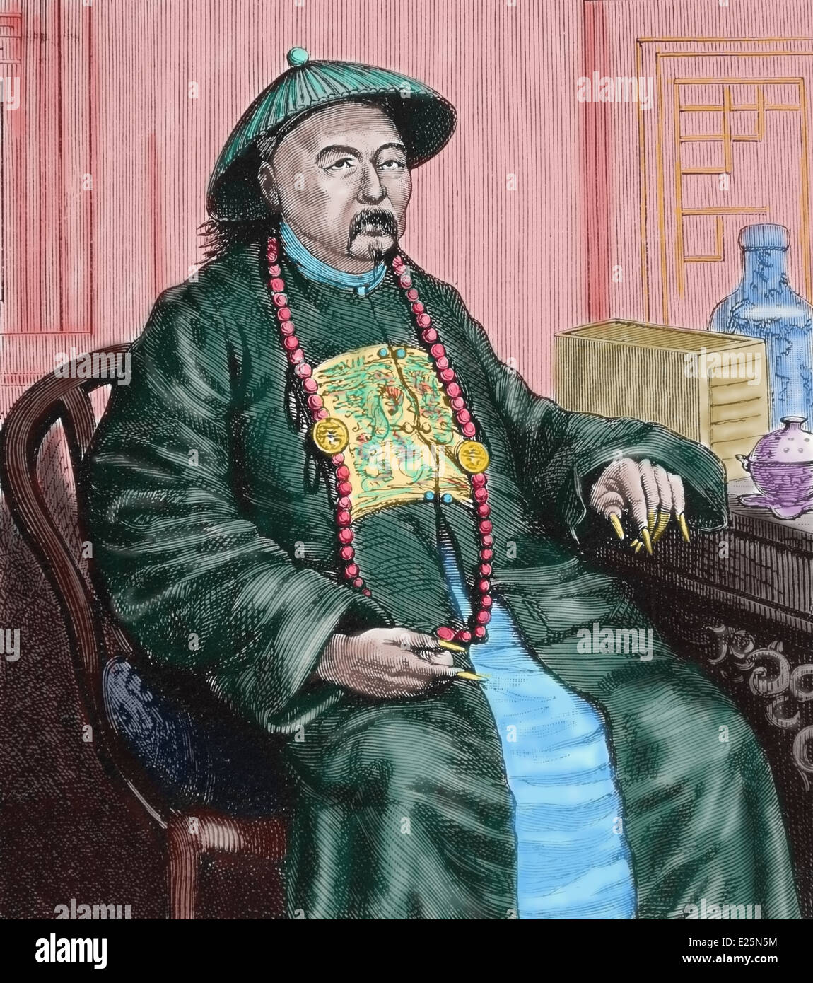 Asia. China. Governor of a province, 1900. Engraving. Later colouration. - Stock Image