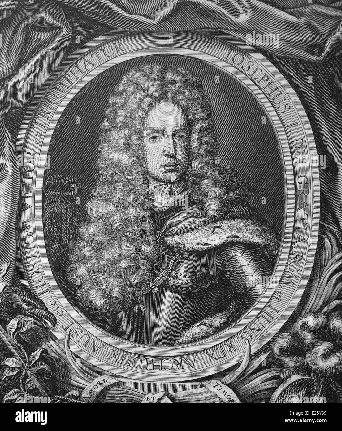 Joseph I (1678-1711). Holy Roman Emperor from 1705-1711. Engraving, 19th century. - Stock Image