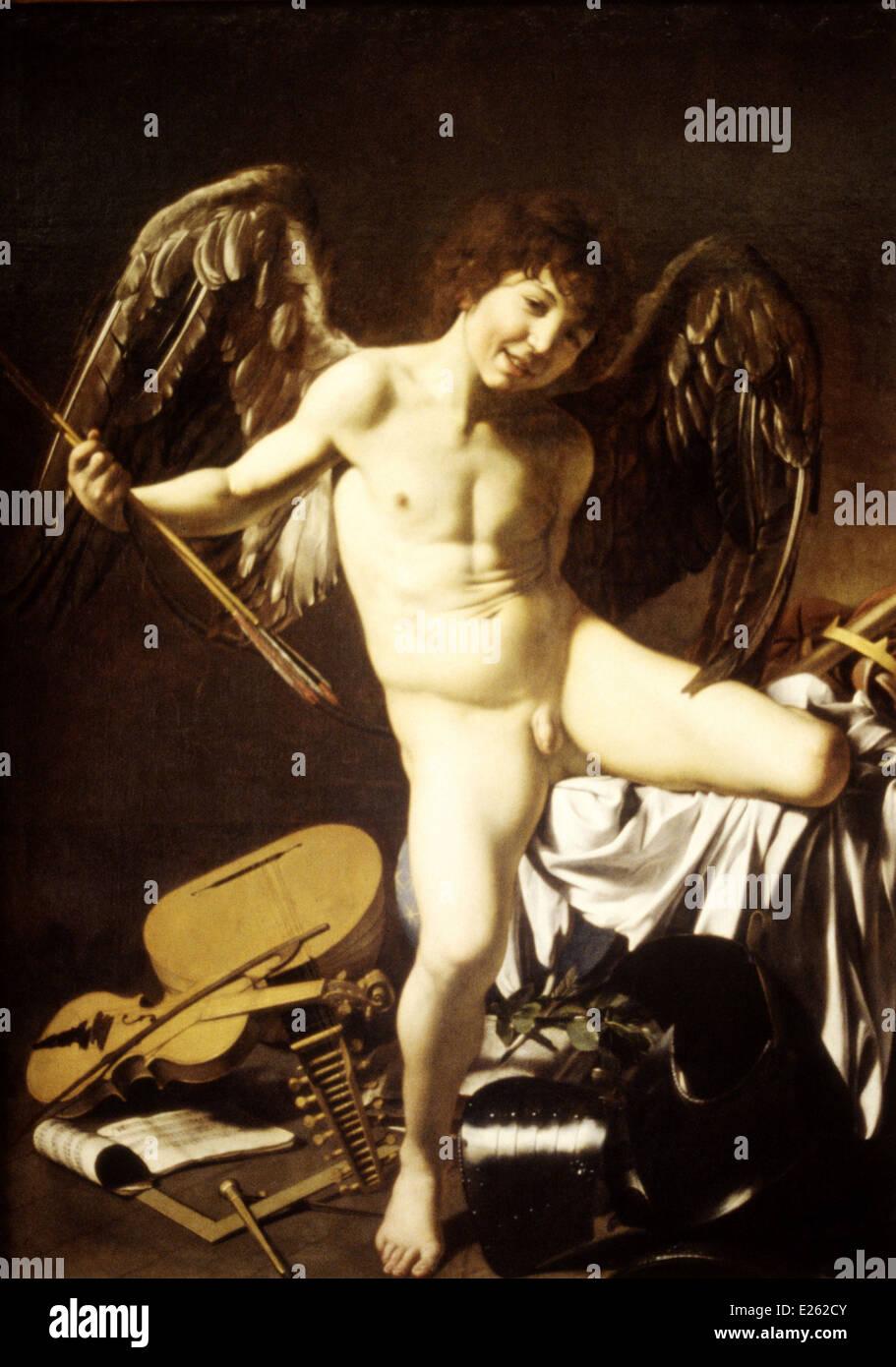 berlin,dahlem museum,amor vittorioso by caravaggio,1602 - Stock Image