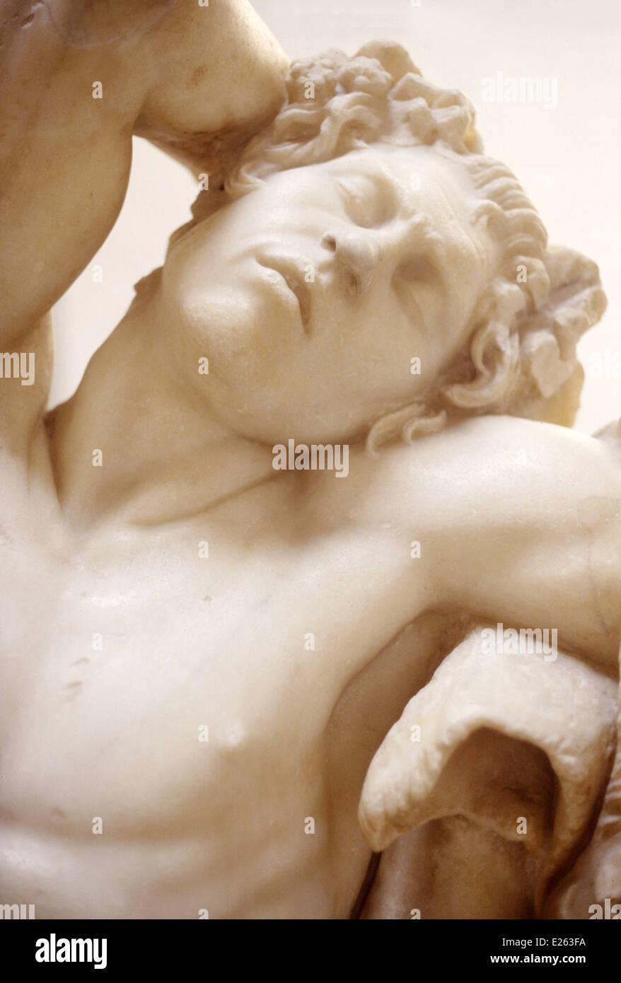 munich,glyptothek,greek art,satyr sleeping,detail,220 b.c. - Stock Image