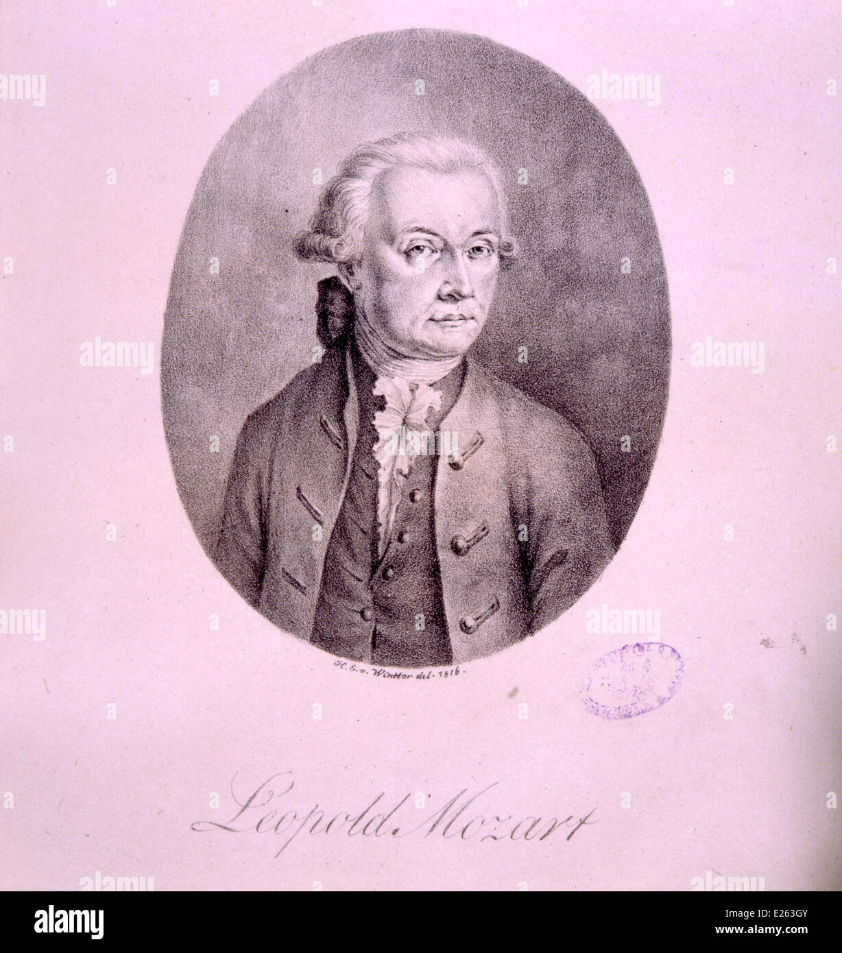 leopold mozart,lithography of Heinrich Eduard von Wintter,1816,National Academy of St Cecilia Stock Photo