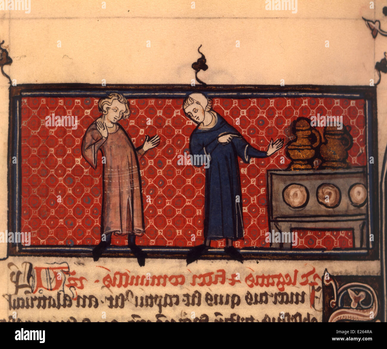 Middle Ages,miniature of Justinianus Pandette,ambrosiana library,milan - Stock Image