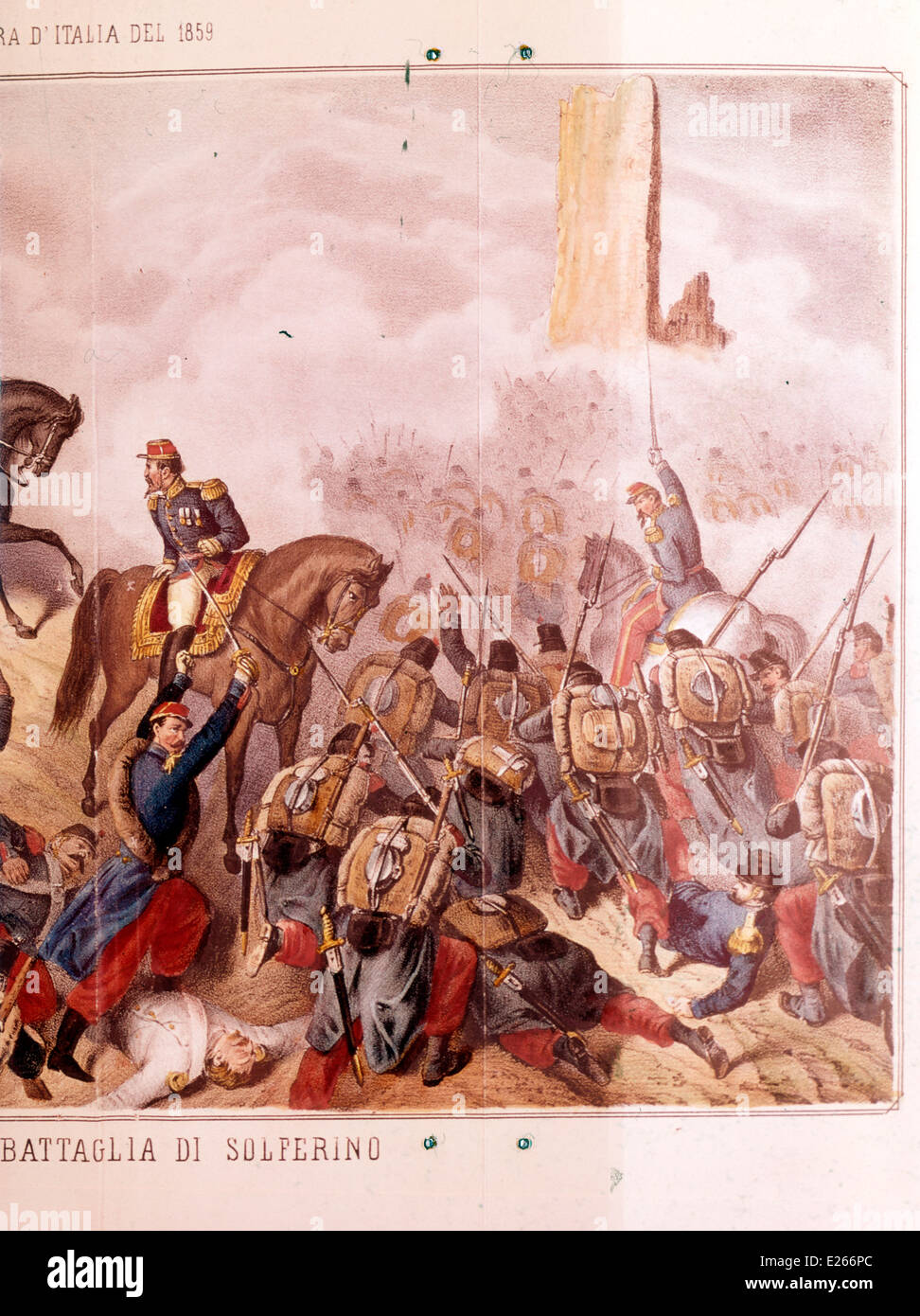 Renaissance,Italian troops defeated the Austrians,lithography of 19th century,milan,museo del risorgimento - Stock Image