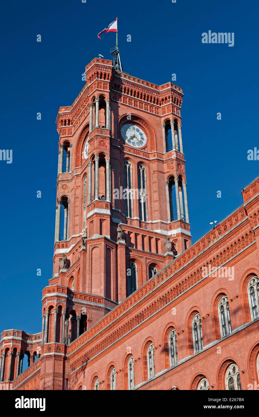 Red Town Hall Rotes Rathaus Berlin Germany - Stock Image