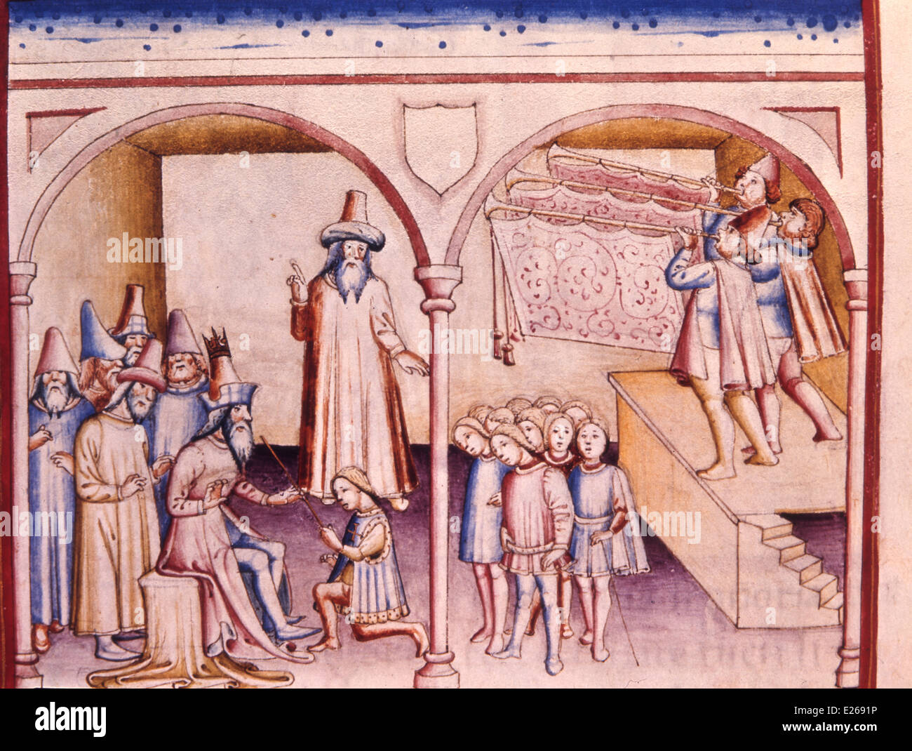 history of Jehoshaphat,costumes and medieval environments Italian,miniature from the 14th century,Cesena,Biblioteca - Stock Image