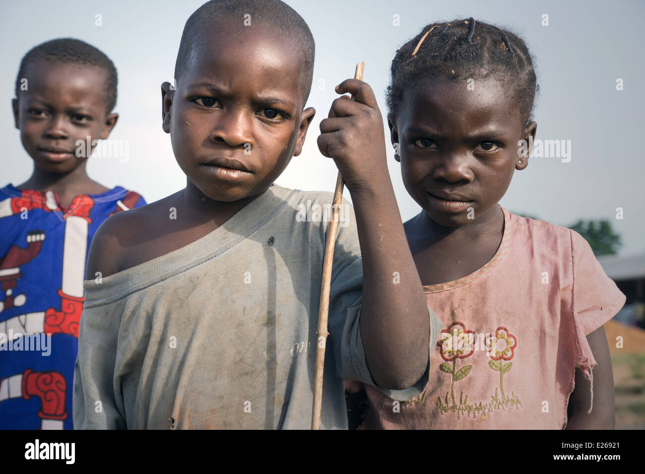 Central African Republic Refugee children in Boyabu refugee camp in Democratic Republic of Congo. - Stock Image