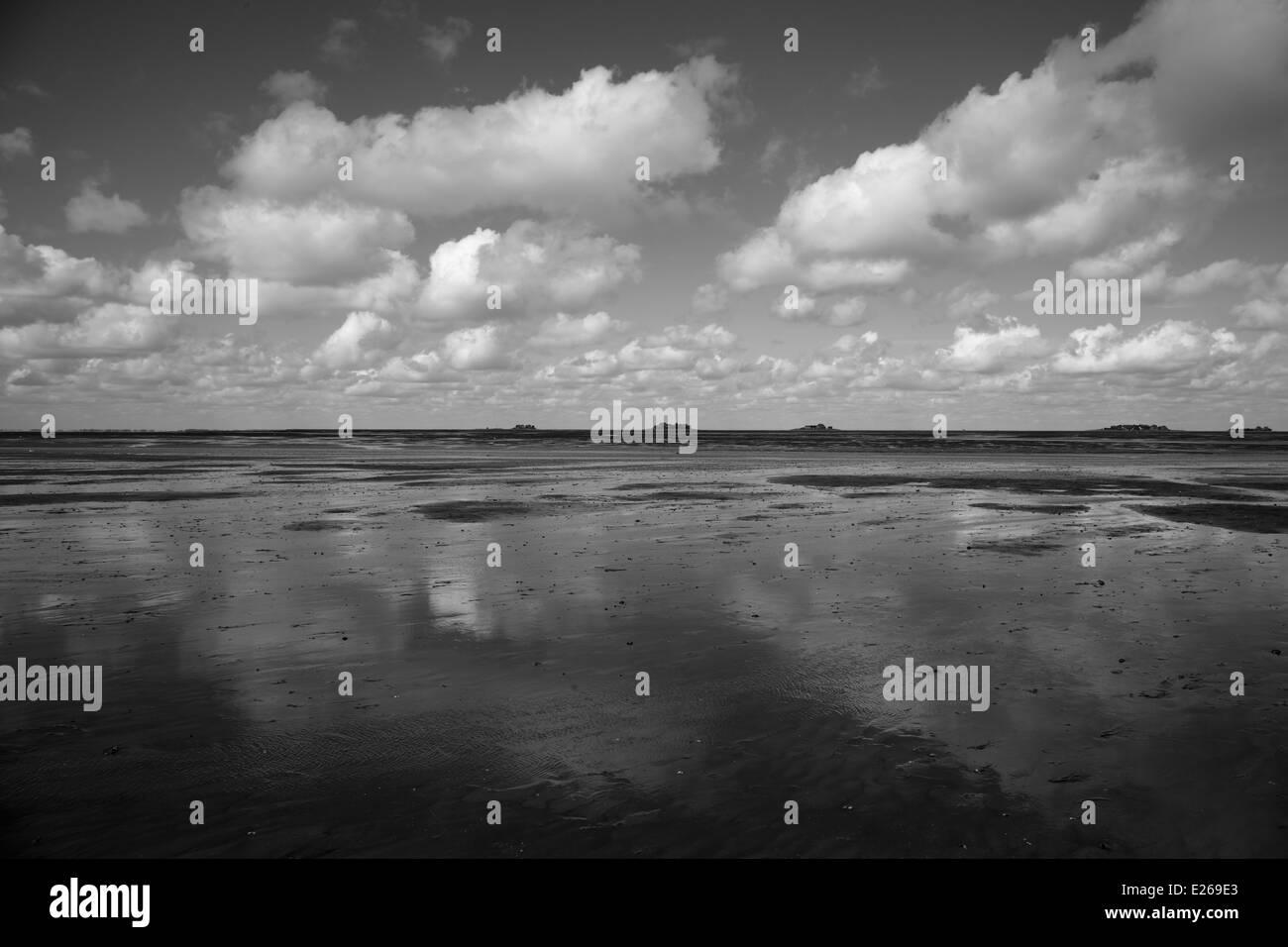 wadden sea (world heritage) at low tide Wattenmeer (Weltnaturerbe) bei Ebbe - Stock Image
