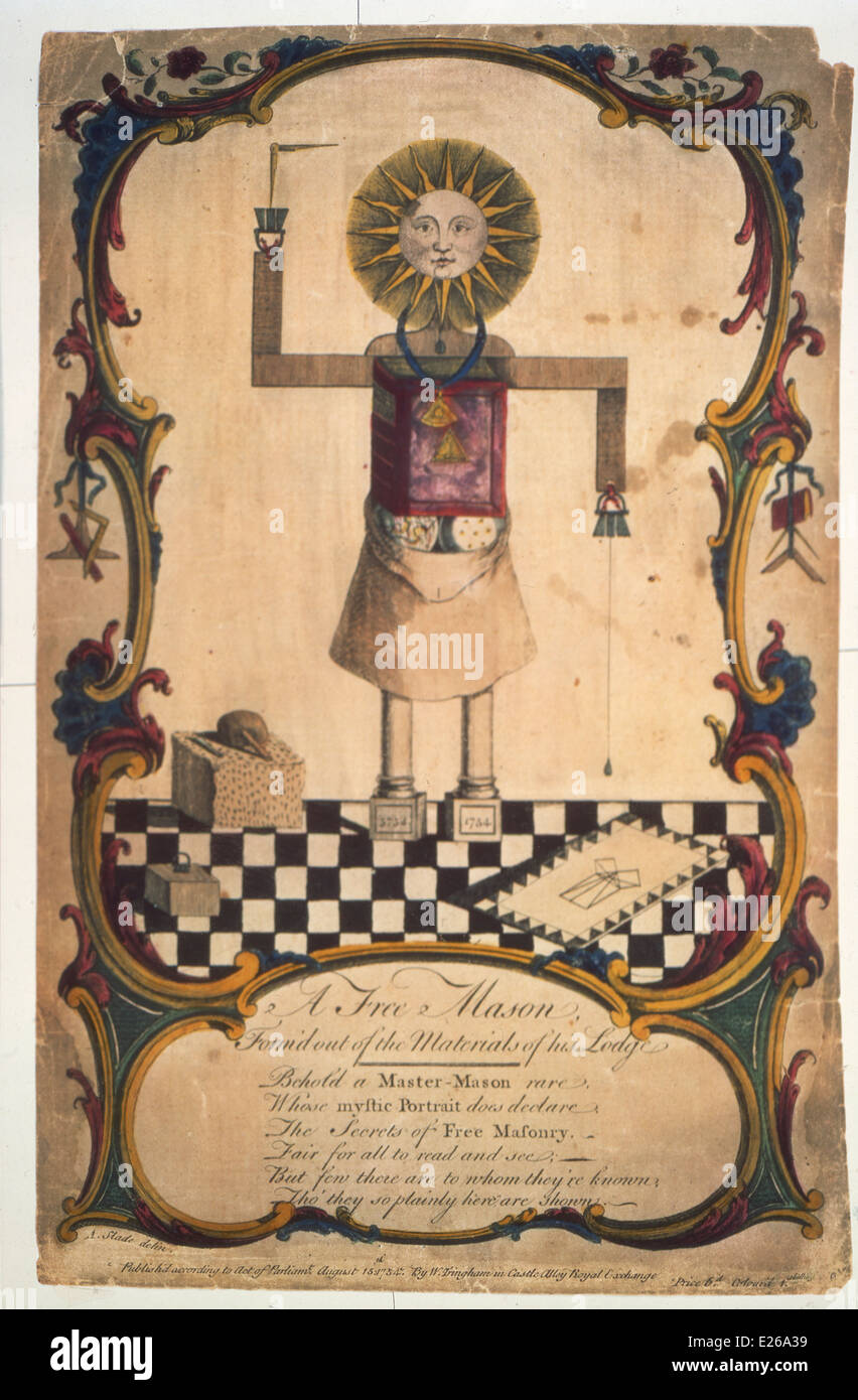 formed by fellow Freemason symbols and esoteric tools of the mason guilds,engraving from 1754 - Stock Image