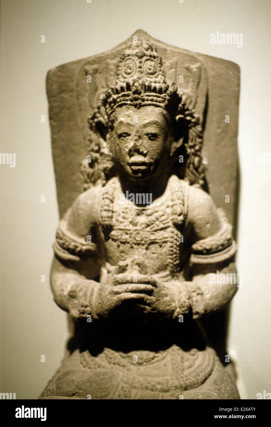 Art of the island of java,funerary statue of the late 14th century,Guimet Museum,Paris - Stock Image