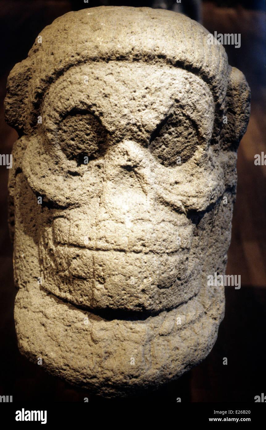 pre-Columbian art,Guatemala,big skull,DC 200-900,Dahlem Museum,Berlin - Stock Image
