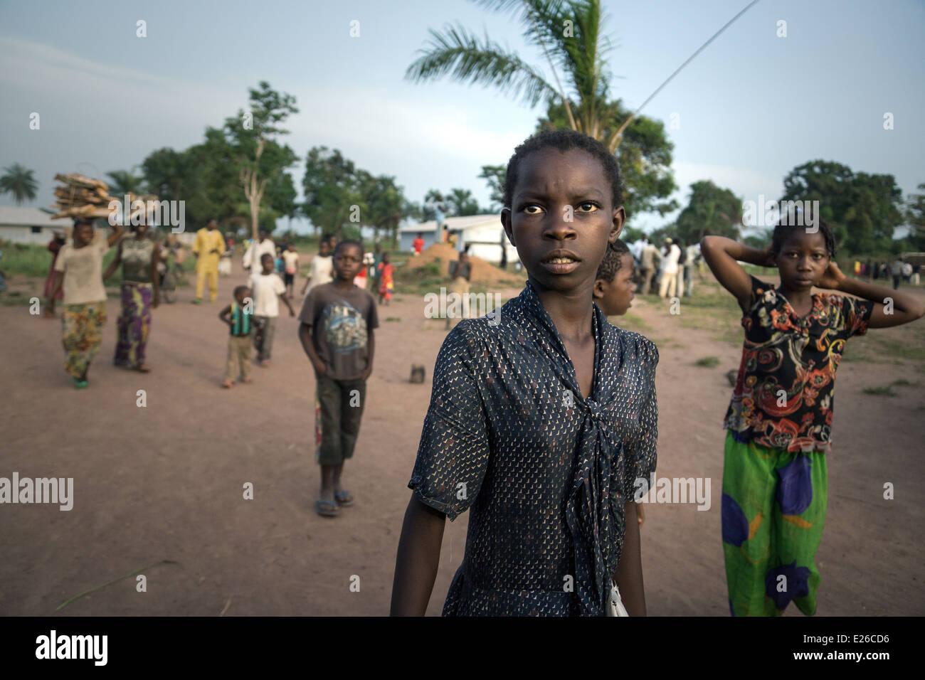 Central African Republic Refugee children in Boyabu refugee camp in Democratic Republic of Congo. - Stock Image