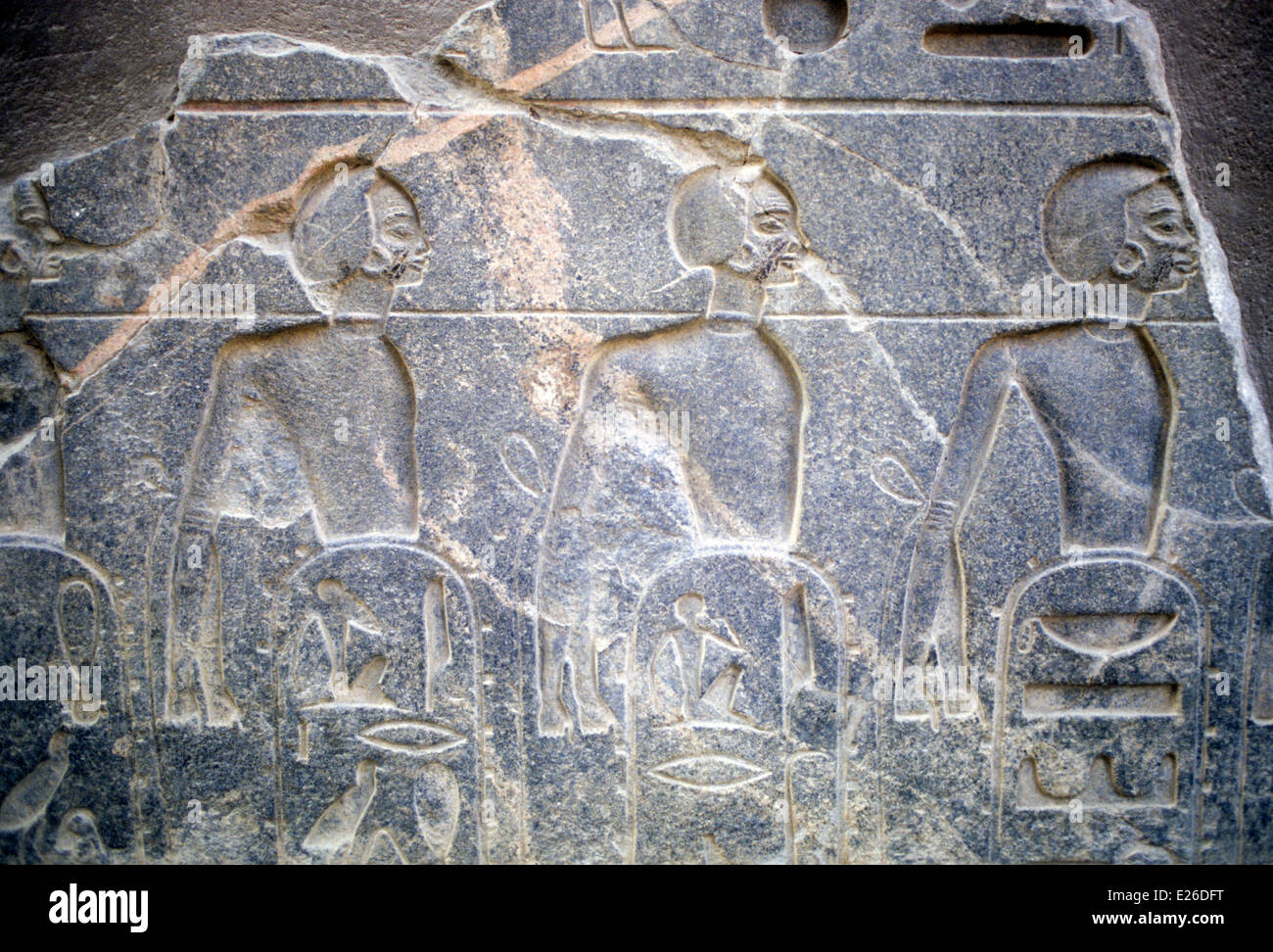 Egyptian history,luxor,the depiction of blacks in Africa,on the pylon of the temple of amenophis III - Stock Image