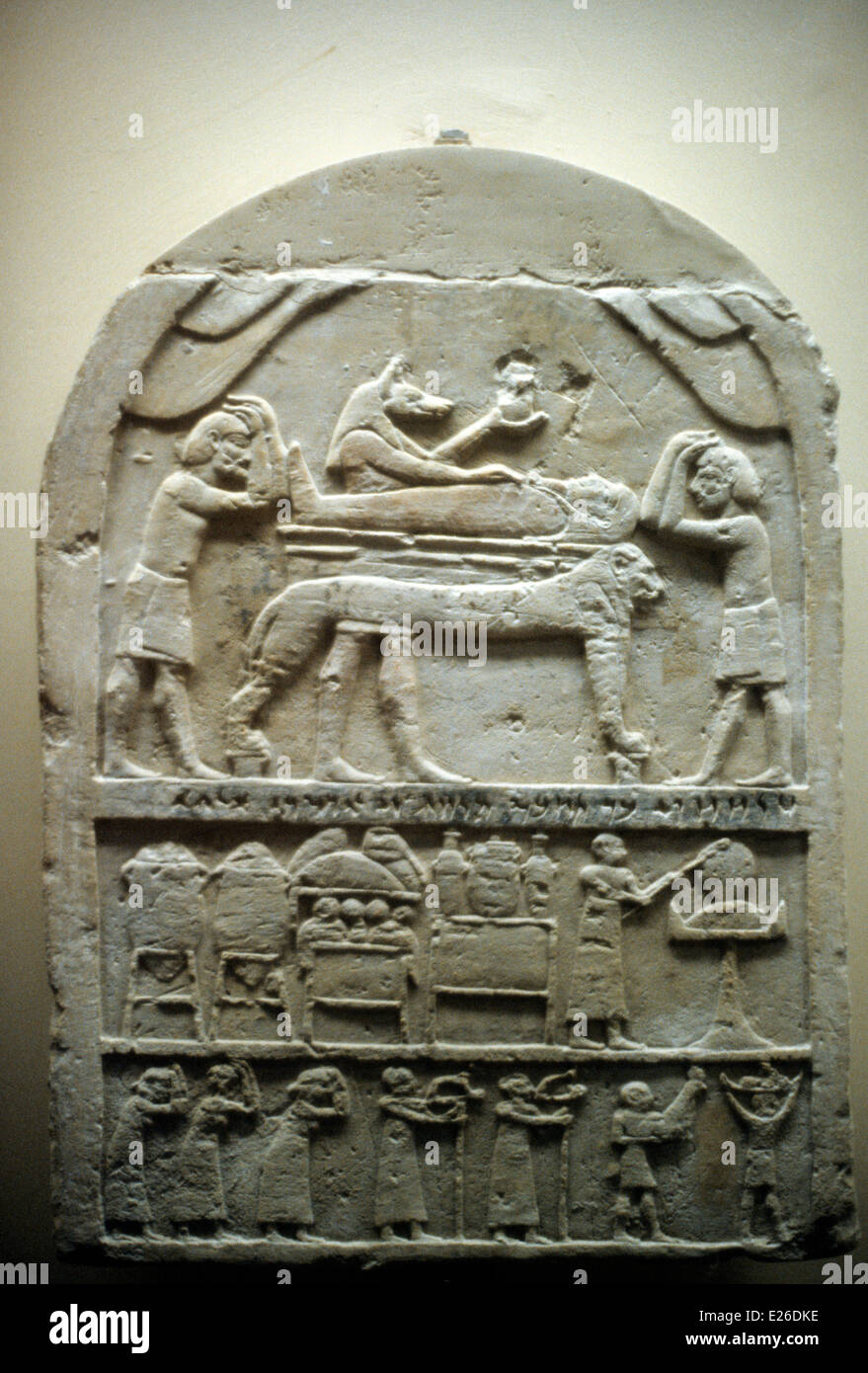 Egyptian history,funerary stele of the sixth century BC,menfi Semitic column with  Aryan inscriptions,Vatican Museums - Stock Image