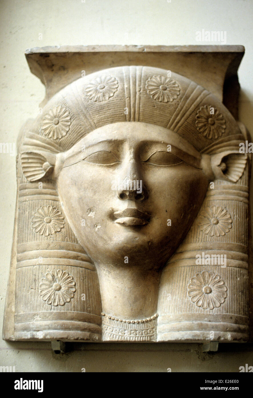 Egyptian art,the goddess hathor depicted with veal ears,3rd century BC,fragment of capital,louvre,paris - Stock Image