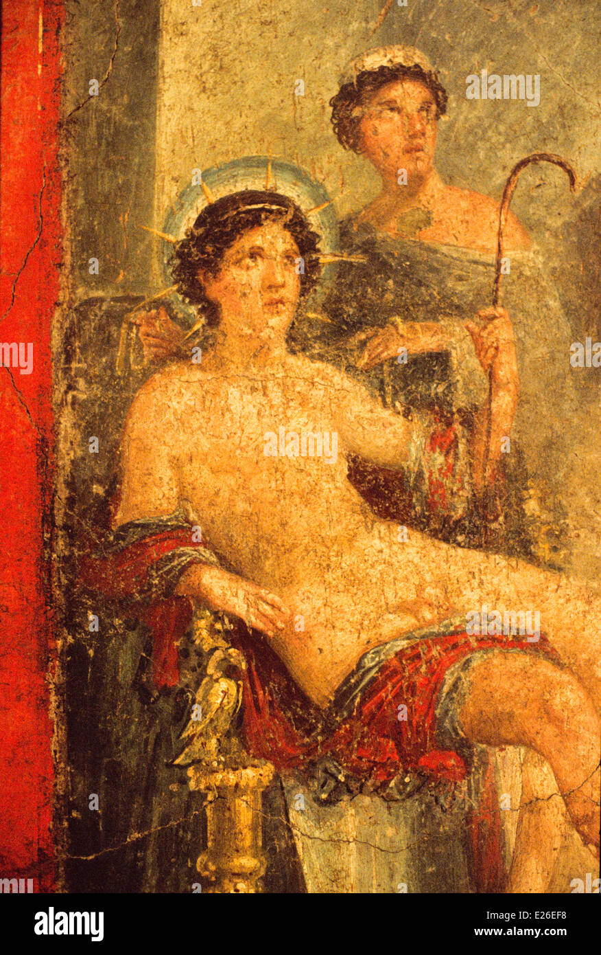 ancient art,Pompeii,Apollo and the nymph helios rhodos,Archaeological Museum,Naples - Stock Image