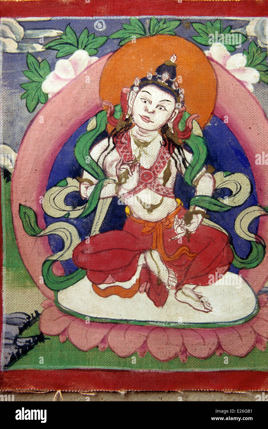 tibet,buddha Dorje Sempa,tempera comes from old prayer book,darjeeling,private collection - Stock Image