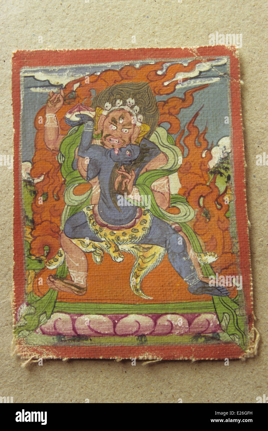 tibet,Mahakala and Kali,tempera taken from old prayer book,darjeeling,private collection - Stock Image