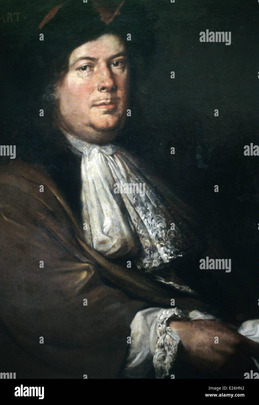 jean bart portrait of mathieu elias,1658-1741,Musée de la Marine,Paris - Stock Image