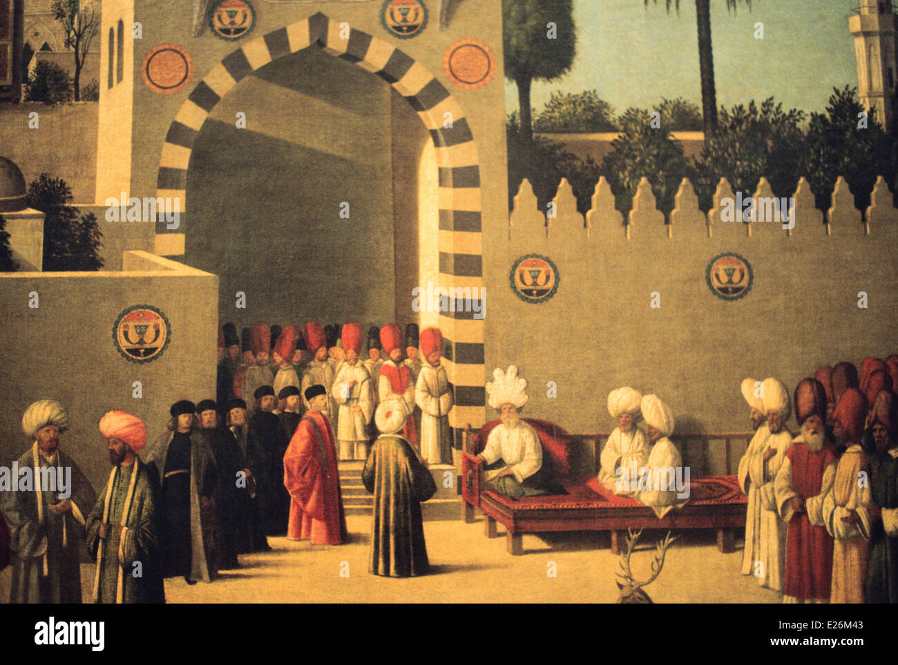 Venetian embassy to Mamluk Governor in Damascus in 1511,during the reign of Al-Ashraf Qansuh al-Ghawri by Giovanni - Stock Image