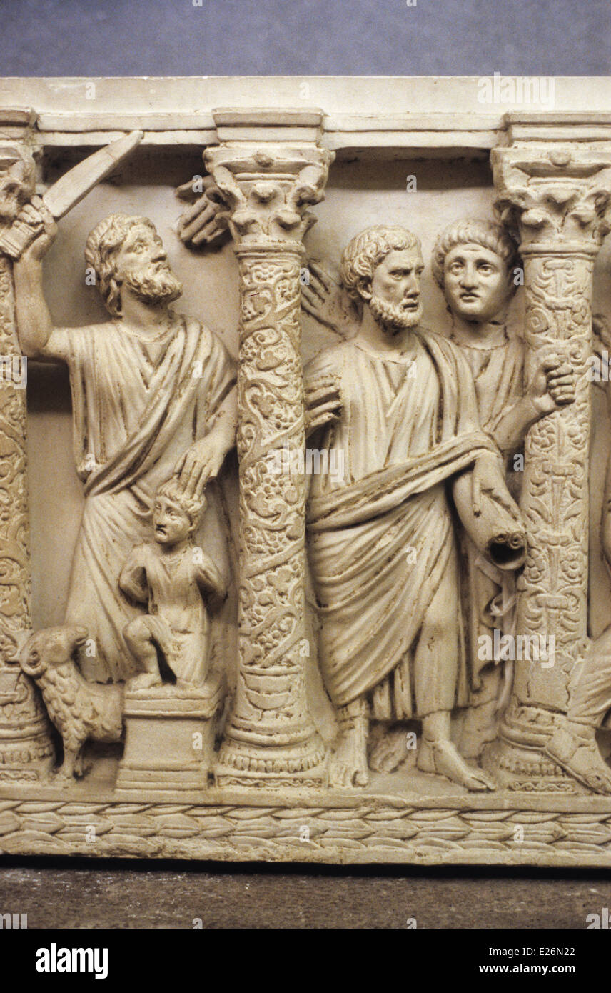Christian art,the sacrifice of isaac,detail of sarcophagus half 'of the fourth century,the Vatican Museums,Rome - Stock Image